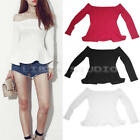 Fashion Women Ladies Long Sleeve Tops Blouse Off Shoulder Casual T-Shirt