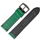 Breathable 20mm Green crocodile Grain Leather and Black Rubber Watch Band Strap