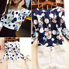 Stylish Women Casual Floral Print Long Sleeve Casual Blouse Loose Tops T-Shirt /