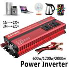600W/1200W/2000W/12V/24V Car LED Power Inverter Converter 4 USB Ports Charger ED