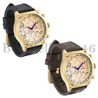 Luxury Mens Sport Large Gold Dial Quartz Date Leather Wrist Watch for Christmas image