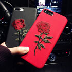 Luxury Embroidery Rose Flower Soft Silicone Case Cover for iphone 7 8 Plus X/10