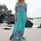 Women Summer Beach Sundress Vintage Floral Boho Evening Party Dress Long Maxi