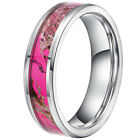 5mm Tungsten Carbide Pink Women's Camo Hunting Tree Wedding Band Ring Size 5-10