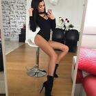 Women V Neck Long Sleeve Bodycon Bandage Bodysuit Jumpsuit Slim Short Romper LJ