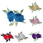 Rose Flower Leaves Embroidery Iron On Applique Patch Clothes Decor Emblem Sign