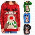 Womens Christmas Jumper Rudolph Pom Pom Nose Ladies Sweater Knitted Xmas Top UKΣ