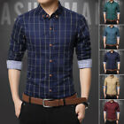 Mens Cotton Checked Long Sleeve Shirt Casual Formal Dress Shirt Top Size M-4XL