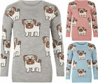 New Ladies Long Sleeve Christmas Knitted Pug Dog Print Stylish Jumper Top 8-14 M