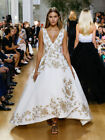 $15,235 New Oscar de la Renta Floral Metallic Embroidered White Hi Low Gown 4