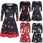 NEW Womens Xmas Christmas Santa Skater Ladies Snowman Swing Dress Plus Size