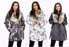 Ladies Long Sleeves Floral Parker Coat With Faux Fur Collar with Matching Belt