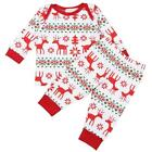 Kids Christmas Reindeer Print Clothes O-Neck Long Sleeve Top Pant Outfits FT