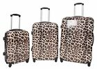 NEW 4 Wheel Spinner Trolley Luggage Suitcase Hard Shell ABS Brown Leopard Print