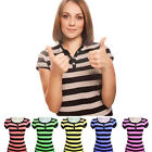 Ladies' Short-Sleeved Round Neck Striped T-Shirts with Buttons