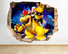 M248 Bowser Monster Yellow Boys Smashed Wall Decal 3D Art Stickers Vinyl Room