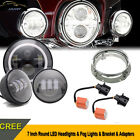 7 Inch Round LED Headlight & Fog Light & Ring Haley Davidson Motorcycle Daymaker