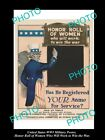 OLD LARGE HISTORIC US MILITARY WWI RECUITING POSTER, HONOR ROLE FOR WOMEN c1915