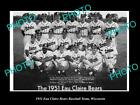 OLD LARGE HISTORIC PHOTO OF EAU CLAIRE WISCONSIN, THE BEARS BASEBALL TEAM c1951