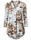 Women's Casual Knitted V-Neck Cuffed Sleeve Pleated Floral T-Shirt Tops Blouse