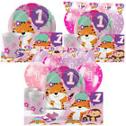 Pink One Is Fun 1st Birthday Party Pack Tableware Kits - For 8 or 16 Guests