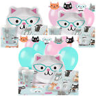 Purr-Fect Cat Kids Birthday Party Pack Tableware Kits - For 8 or 16 Guests