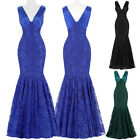 LACE Womens V-Neck Nobility Mother Of Bride Long Formal Evening Dress BRIDESMAID