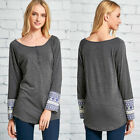 Womens Long Sleeve Stretch Scoop Neck Blouse Geometric Print Henley Tee Shirt