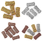 Внешний вид - 5Pcs/20Pcs Tibetan Silver Hollow Carved 3-Hole Spacer Beads Bar Charms Diy