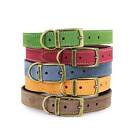 Ancol Timberwolf Leather Dog Puppy Collar Sable Blue Grey Free UK P&P