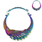 Multi Color Carving Peacock Torques Metal Maxi Ethnic Choker Necklace For Women image