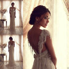 Wedding dress Beaded White Ivory Lace Beach Bridal Gown Wedding Dress