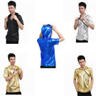 Men Patent Leather Hip Hop Zipper Hoodie Hipster Top Shirt Sweatshirts Jacket