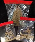 Set Of 3 Vintage Plastic Gold & Silver Glitter 3D Hanging Chriatmas Decorations