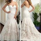 Wedding Sleeveless Mermaid White/Ivory Lace Wedding Dress Bridal Gown