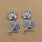 Lot Tibetan silver Vintage Alloy Cat Shaped Pendants Charms Crafts Findings 37mm