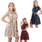 Womens Sequined Party Cocktail Bridesmaid Brides A-Line Skater Dress Evening