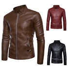 Mens PU Leather Stand Collars Slim Motorcycle Jacket Short Outerwear Coat Tops
