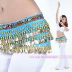New Belly Dance Color Diamond Hip Scarf Belt Velvet228Pcs Golden Coins 10 Color