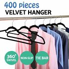 Non-slip Flocked Coloured Velvet Space Saving Coat Hangers with Trouser Bar lot