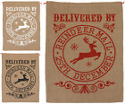 CHRISTMAS PRESENT SACKS HESSIAN DELIVERED BY REINDEER XMAS TRADITIONAL