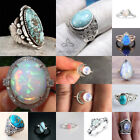 925 Silver Ring Man Woman Moonstone Turquoise Fire Opal Gift Wedding Size 6-10