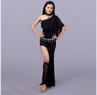 one-piece Long Skirt Belly Dance Costumes Performance one side slit dress 5016