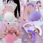Lovely Bling Fur Ball fan Tassel ring stand Soft Silicone Case Cover for iPhone