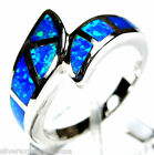 High Quality Blue Fire Opal Inlay Solid 925 Sterling Silver Ring size 6,7