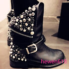 Womens Punk Studs Leather Ankle Boots Motorcycle Flat Biker Back Zip Shoes New