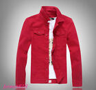 Plus Size New Mens Red Denim Jeans Jacket Slim Fit Outwear Casual Jackets Tops