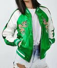new Women Jacket Coat Bomber Eagle Dragon Embroidered Two-In-One Reversible slim