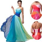 2017 Long Chiffon Evening Gown Formal Party Ball Prom Bridesmaid Dress Blue/Red