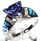 1.75 Ct Tanzanite & Blue Fire Opal Inlay 925 Sterling Silver Ring Size 6,7,8,9
